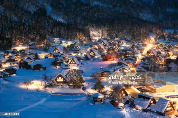 Light up Shirakawa-go village with snow on Winter 2017