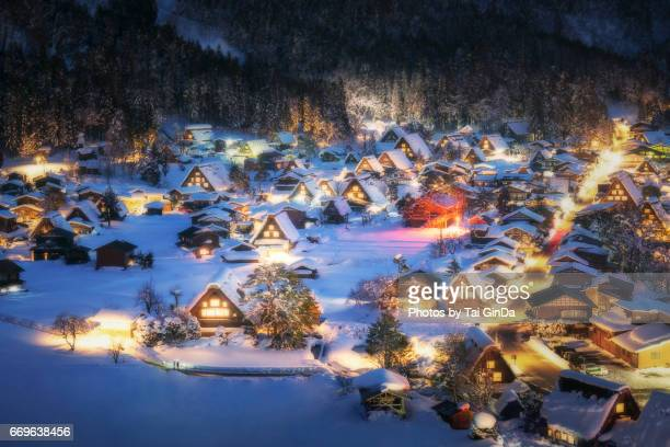 light up shirakawa-go village with snow on winter 2017 - takayama city stock pictures, royalty-free photos & images