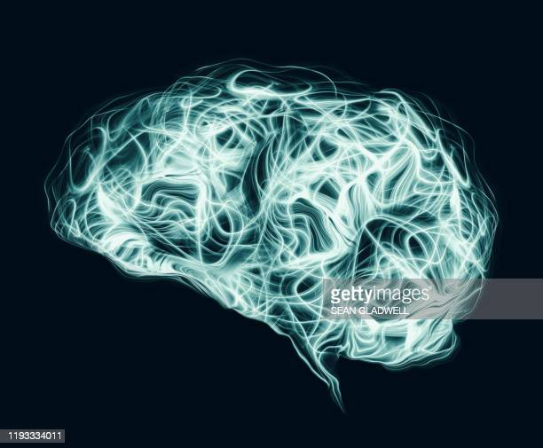 light waves in shape of human brain - cerebrum stock pictures, royalty-free photos & images
