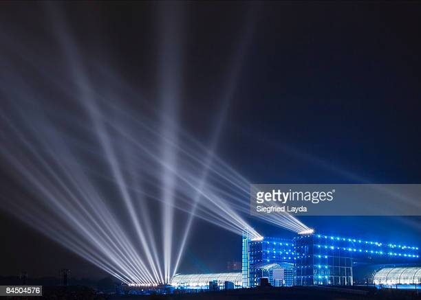 lightbeams on night sky - opening ceremony stock pictures, royalty-free photos & images