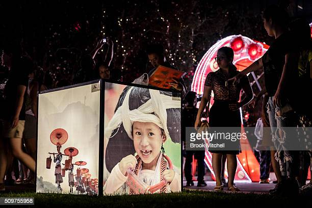 Lightbox display at the Chinese New Year Lantern Festival at Tumbalong Park on February 12 2016 in Sydney Australia The lighting of lanterns is a...