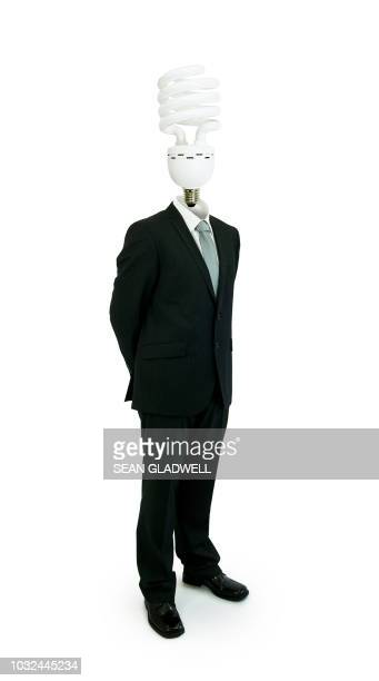 lightbulb man - male likeness stock pictures, royalty-free photos & images