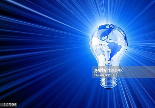Lightbulb with imprint of a globe shining brightly