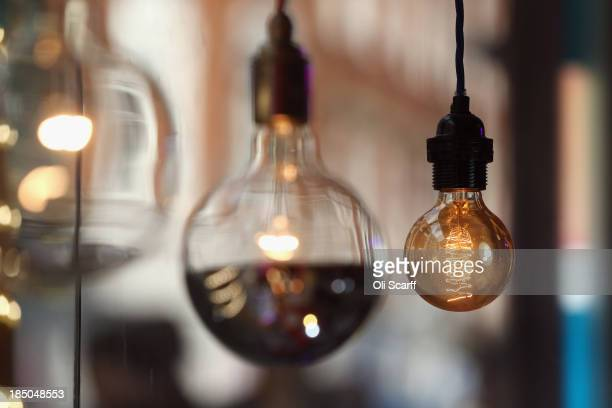 Lightbulbs on display in an electrical retailer in Soho on October 17 2013 in London England British Gas who supply energy to almost eight million...