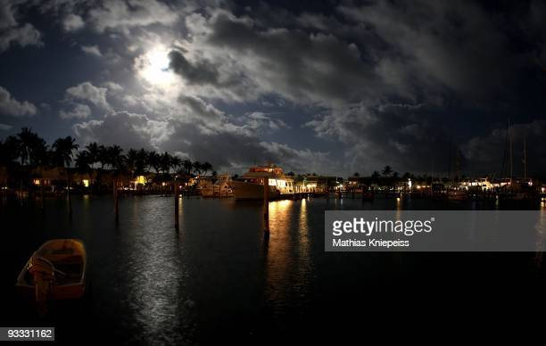 Lighted boat in the harbour at night, on November 13, 2008 in Treasure Cay, Bahamas.