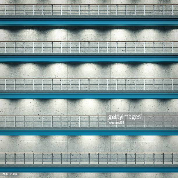 Lighted floors of an industrial hall, 3D Rendering