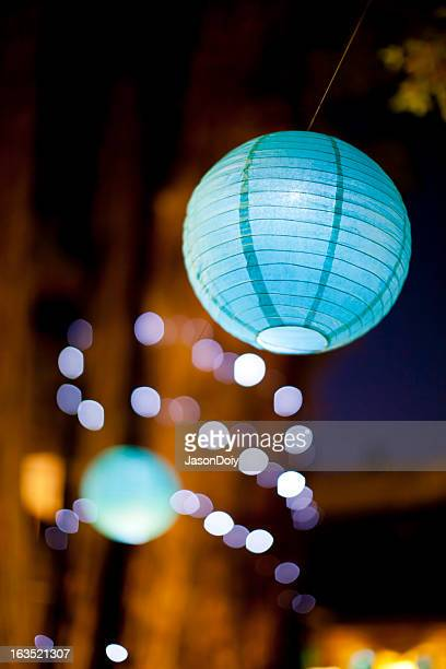 Lighted Paper Lantern at Night