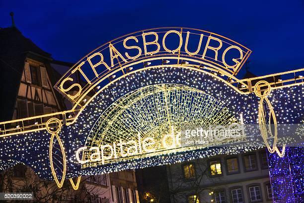 Lighted sign at Strasbourg Christmas market
