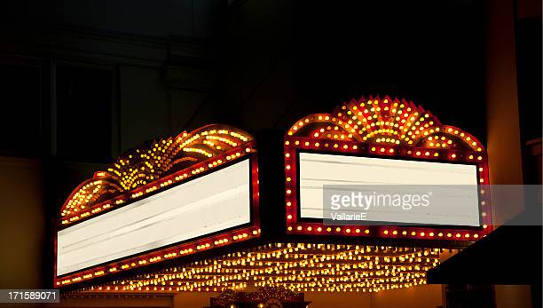 lighted theater marquee at night with 2 copy space areas - illuminate stock photos and pictures