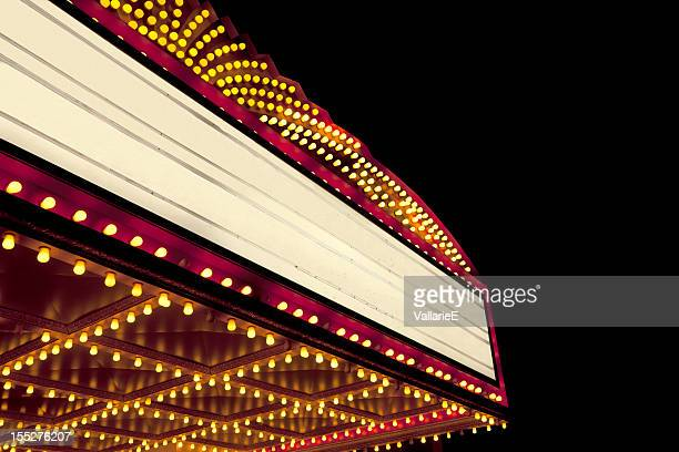 lighted theater marquee at night with copy space - movie photos stock pictures, royalty-free photos & images