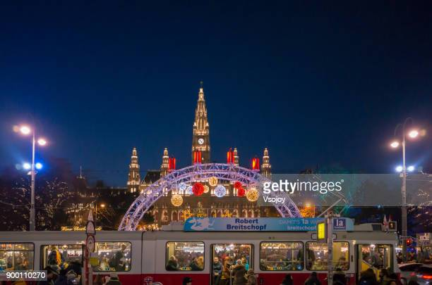 lighten up the christmas market at rathausplatz, vienna, austria - vsojoy stock pictures, royalty-free photos & images