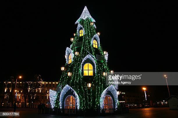A lightened Christmas tree is seen at the Cathedral Square in Vilnius Lithuania on December 8 2015