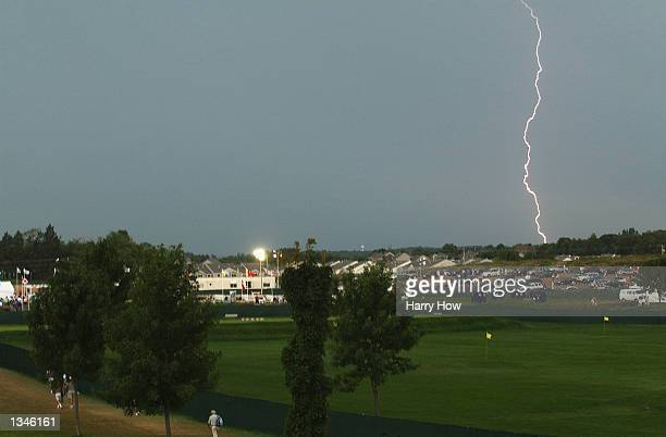 Lightening strike as play is suspended due to inclement weather during the second round on August 16, 2002 for the PGA Championship at Hazeltine...