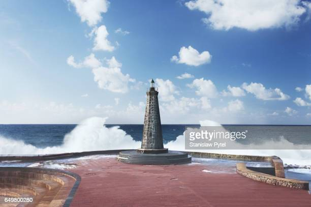 Lighthouse against ocean and waves, Tenerife