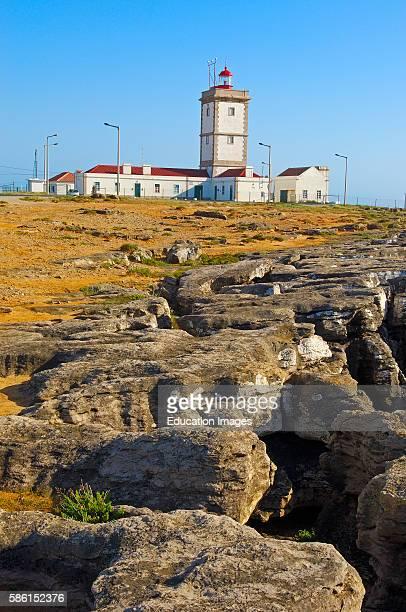 Lighthouse and Cliffs at Atlantic Coast Carvoeiro cape Peniche Estremadura Portugal