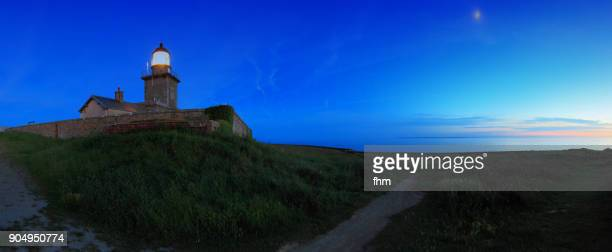 Lighthouse and coastline in the Normandy /Barneville-Carteret, France