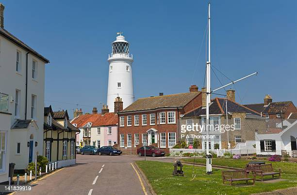 lighthouse and st james green, southwold, suffolk, england - town stock pictures, royalty-free photos & images