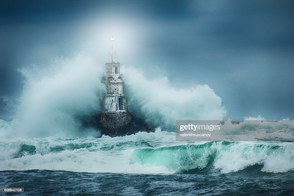 Lighthouse and storm : Stock Photo
