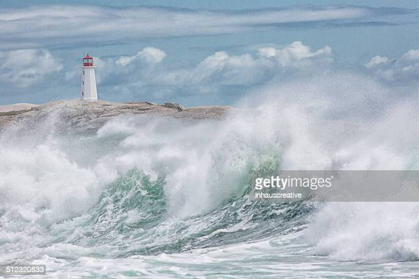 Lighthouse and stormy waves