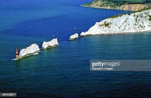 Lighthouse and The Needles, Chalk stacks and chalk cliffs, Aerial, Coastal erosion, Isle of Wight, England.