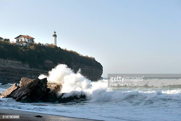 Lighthouse at Biarritz at Biarritz in the Pyrénées-Atlantiques department of southwest France