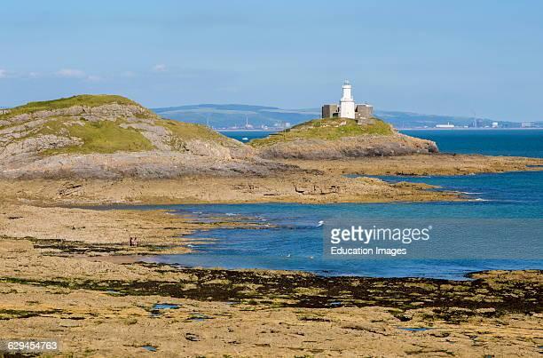Lighthouse at Mumbles Head Gower peninsula near Swansea South Wales UK