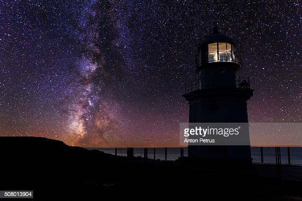 Lighthouse at night under sky with the Milky Way.