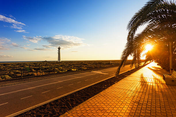"""Lighthouse at Sunset along the beach of Fuerteventura, Canary Is"""