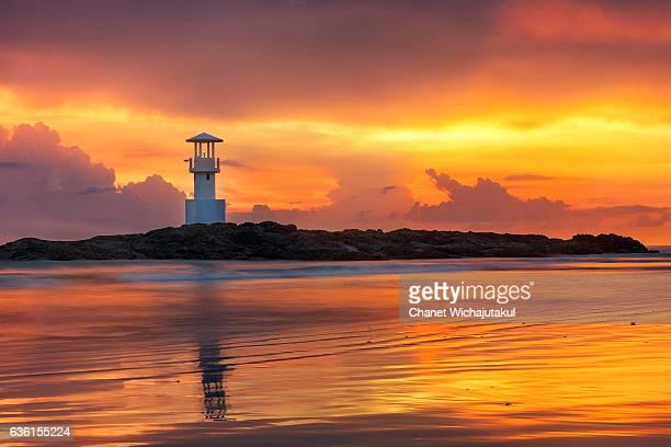 Lighthouse at sunset at Khao Lak