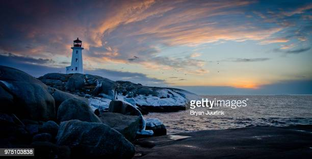 lighthouse at sunset, halifax, nova scotia, canada - halifax nova scotia stock pictures, royalty-free photos & images