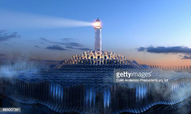 Lighthouse beaming in night sky above futuristic cloud