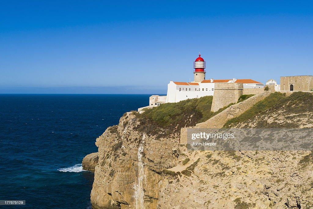 Lighthouse, Cape Sao Vicente, Sagres, Algarve : ストックフォト