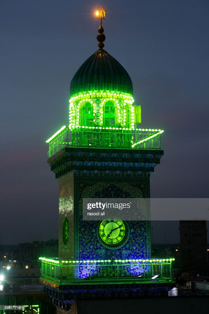 Lighthouse clock tower in Al-Kadhimiya Mosque : Stock Photo