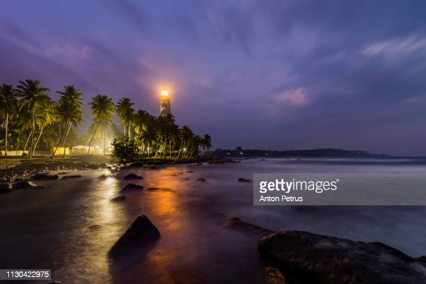 Lighthouse Dondra Head at dusk, Sri Lanka