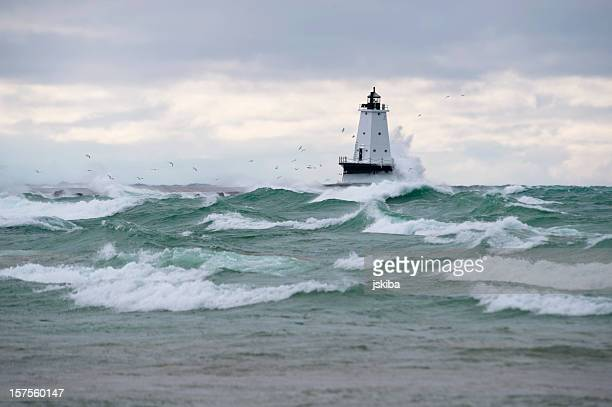 Lighthouse during stormy weather