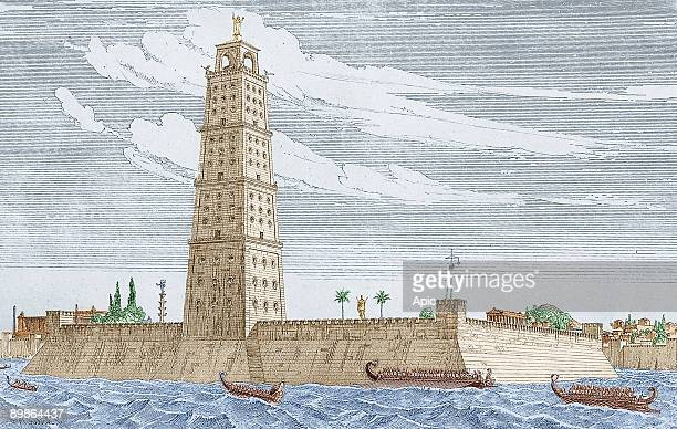 Lighthouse in Alexandria engraving by F Adler dating 1901 colorized document