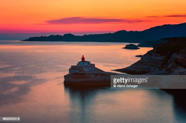 lighthouse in bonifacio corsica - corsica stock photos and pictures