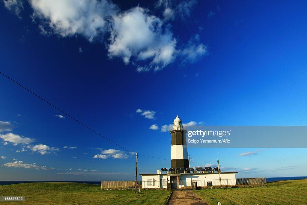 Lighthouse in Cape Notoro, Hokkaido : Stock Photo