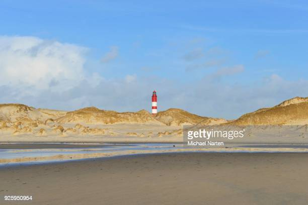 Lighthouse in dunes, sandy beach, Amrum, island, Schleswig-Holstein, Germany