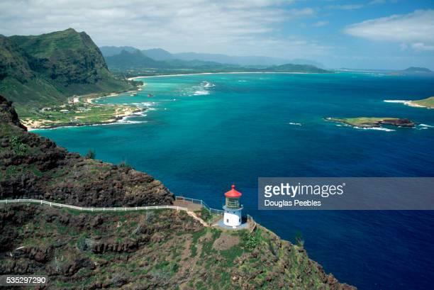 lighthouse in hawaii - oahu stockfoto's en -beelden