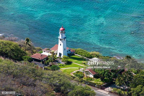 lighthouse in hawaii - haleiwa stock photos and pictures