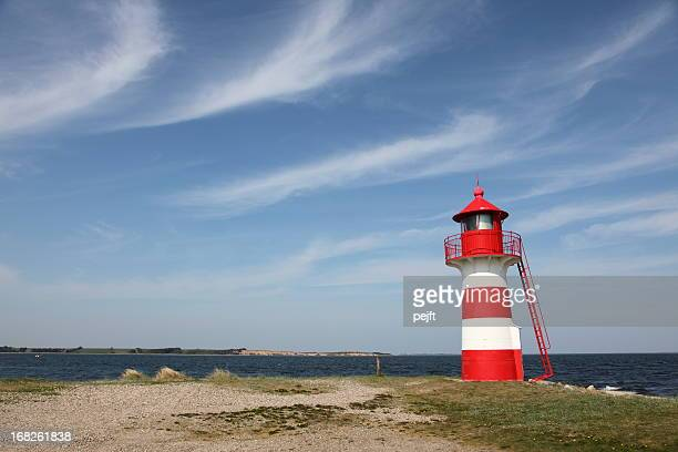 Lighthouse in red and white at Grisetaa Odde