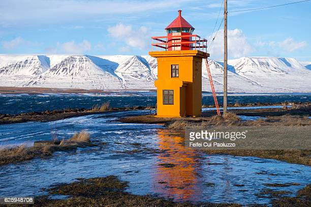 Lighthouse in Svalbarðseyri near Akureyri of Iceland
