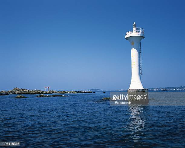 Lighthouse in the Sea, Shonan, Kanagawa Prefecture, Japan, Low Angle View, Pan Focus
