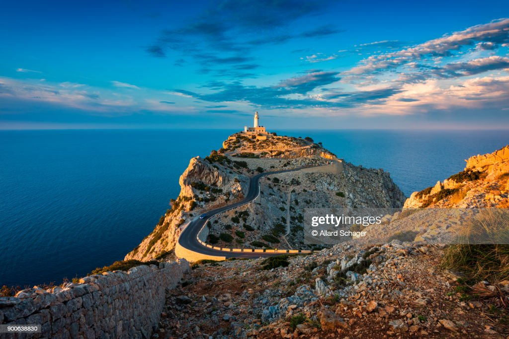 Lighthouse of Cap de Formentor Mallorca Spain around Sunset : Stock Photo
