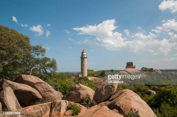 lighthouse of mahabalipuram, india. - chennai stock pictures, royalty-free photos & images