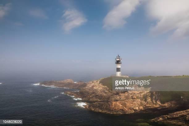 Lighthouse of Pancha Island in Ribadeo, Galicia, Spain.