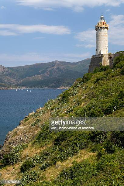 Lighthouse of Portoferraio in Portoferraio Province of Livorno on the island of Elba in the Tuscan Archipelago of Italy Europe where Napoleon...