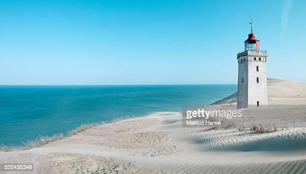 Lighthouse on a sand dune, Rubjerg Knude Fyr, Hjarring, Denmark