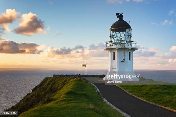 Lighthouse on cliff with ocean, Cape Reinga, North Island, New Zealand